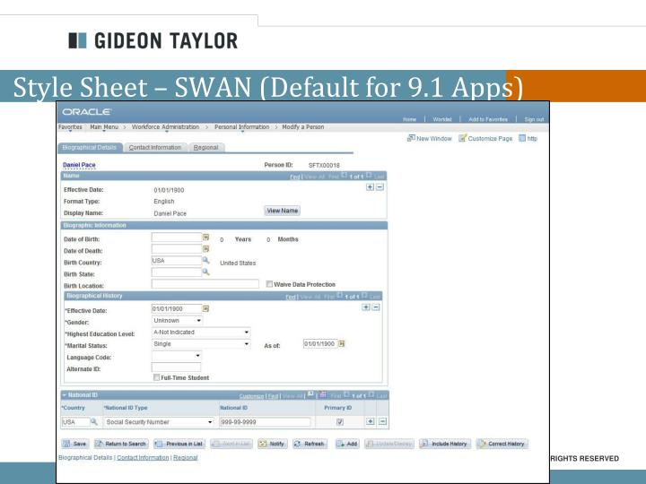 Style Sheet – SWAN (Default for 9.1 Apps)