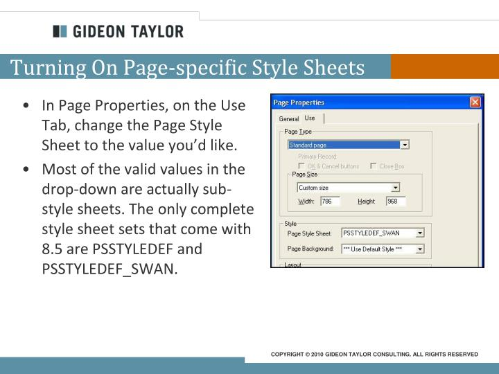 Turning On Page-specific Style Sheets