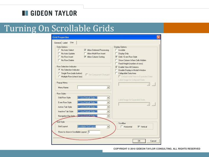 Turning On Scrollable Grids