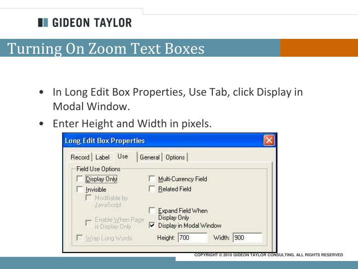 Turning On Zoom Text Boxes