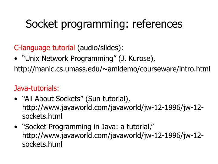 Socket programming: references