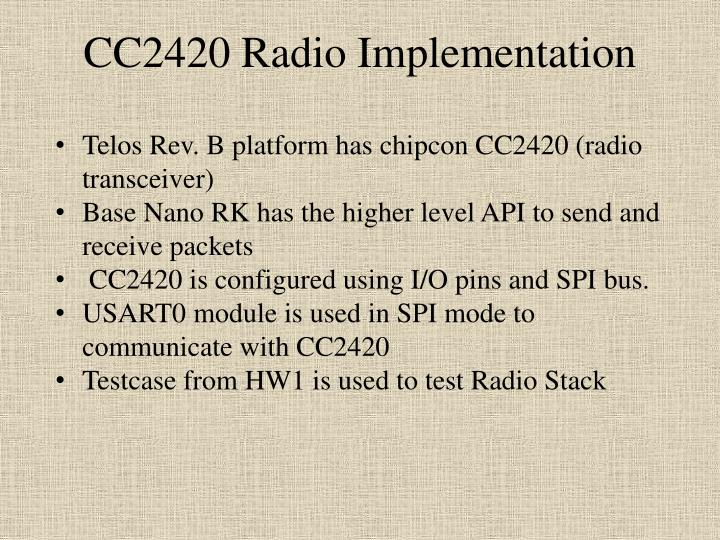 Cc2420 radio implementation