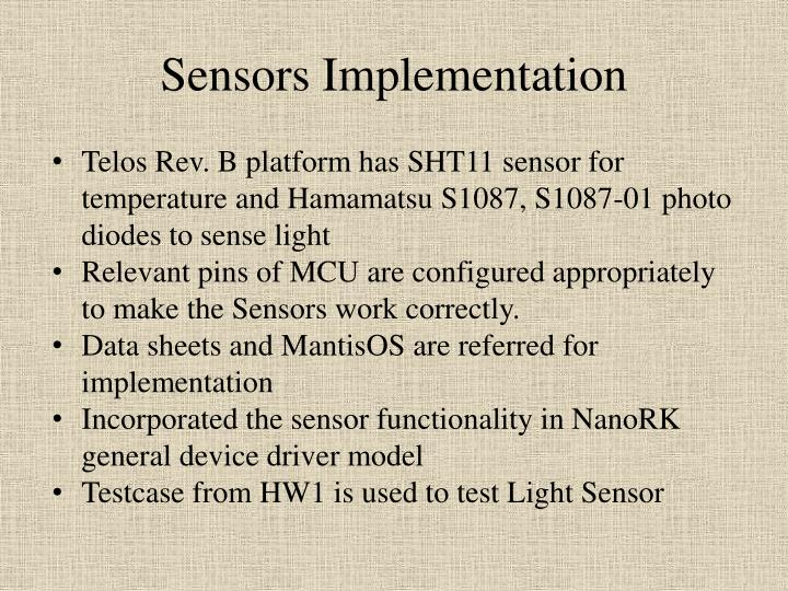 Sensors Implementation