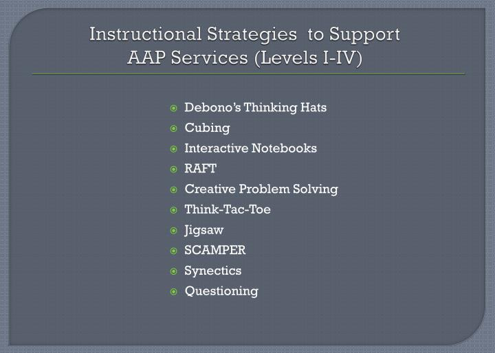 Instructional Strategies  to Support
