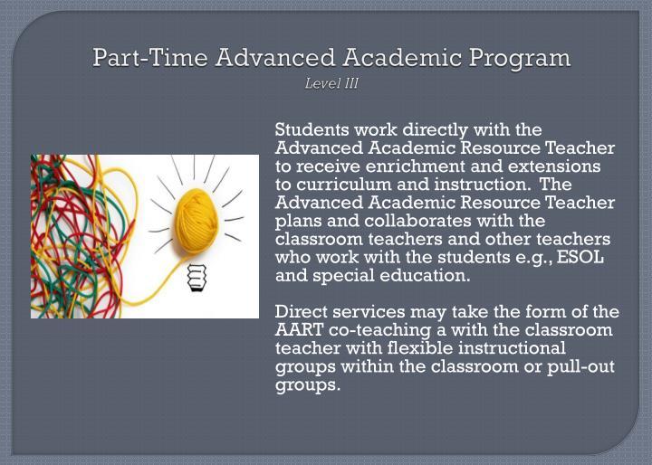 Part-Time Advanced Academic Program