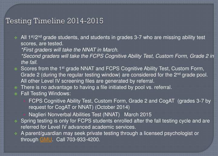 Testing Timeline 2014-2015