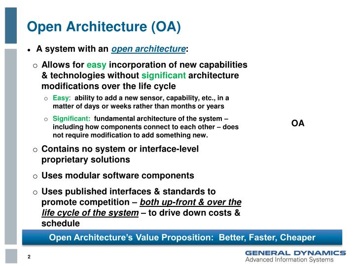 Open architecture oa