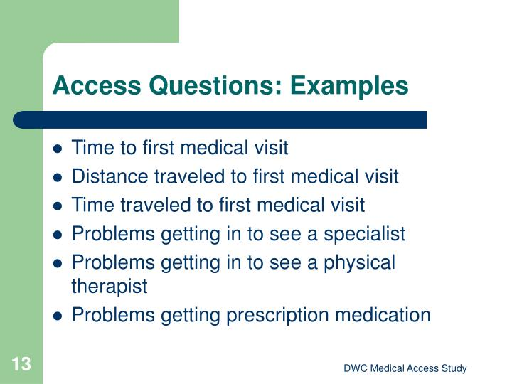 Access Questions: Examples