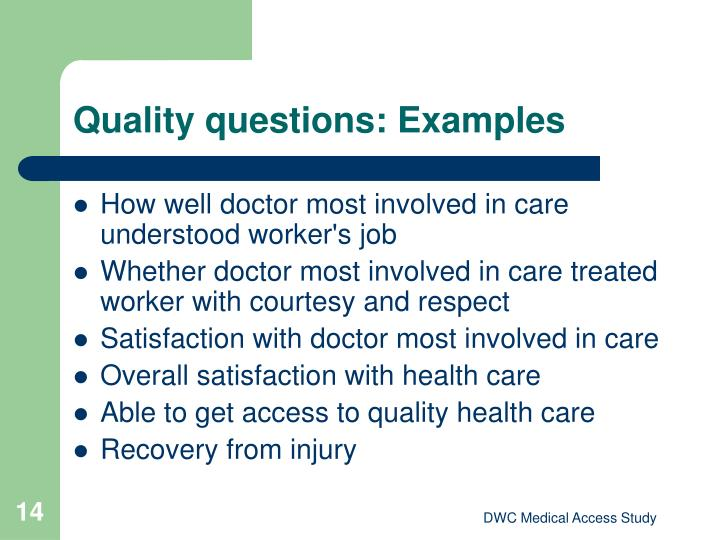 Quality questions: Examples