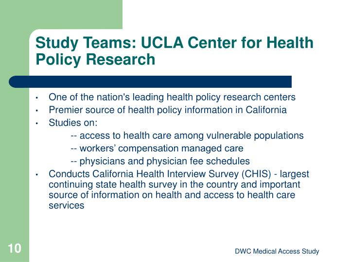 Study Teams: UCLA Center for Health Policy Research