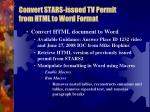 convert stars issued tv permit from html to word format