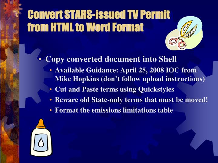 Convert STARS-issued TV Permit