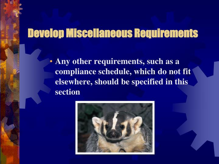 Develop Miscellaneous Requirements