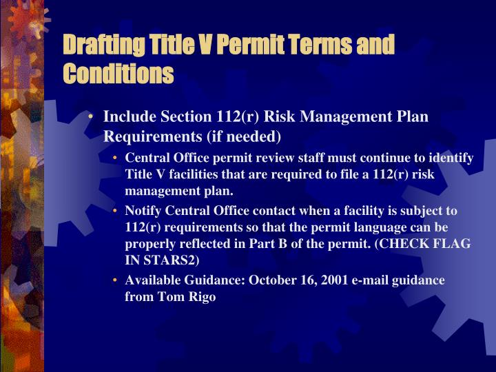 Drafting Title V Permit Terms and Conditions