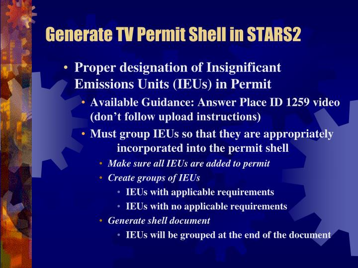 Generate TV Permit Shell in STARS2
