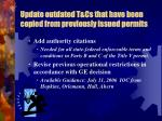 update outdated t cs that have been copied from previously issued permits