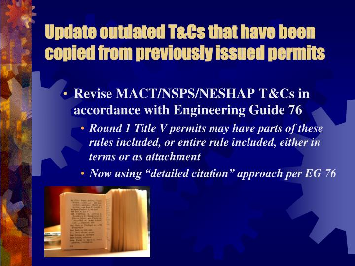 Update outdated T&Cs that have been copied from previously issued permits
