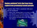update outdated t cs that have been copied from previously issued permits3