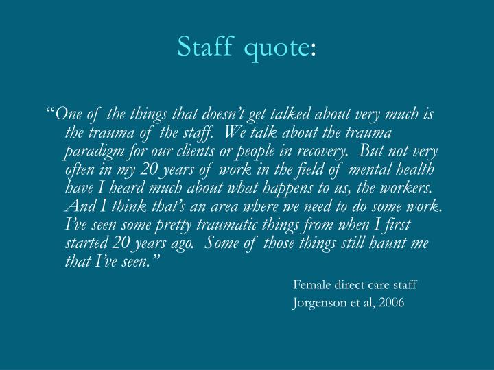 Staff quote