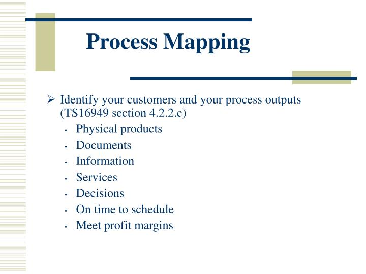 Identify your customers and your process outputs (TS16949 section 4.2.2.c)