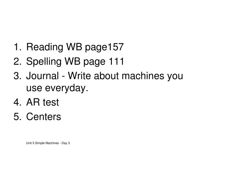 Reading WB page157