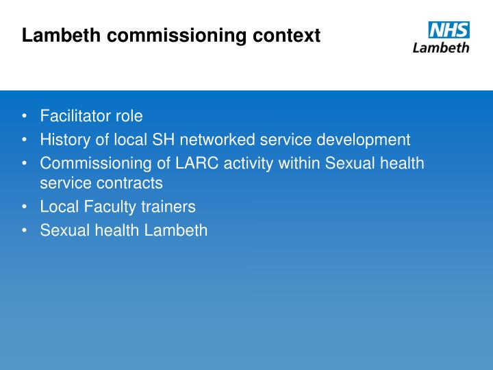 Lambeth commissioning context