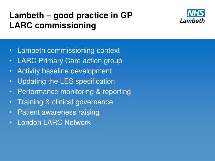 Lambeth – good practice in GP LARC commissioning