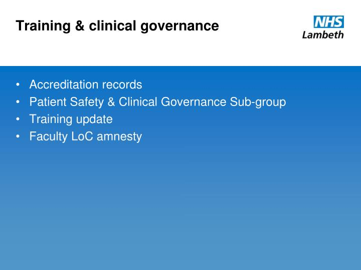 Training & clinical governance