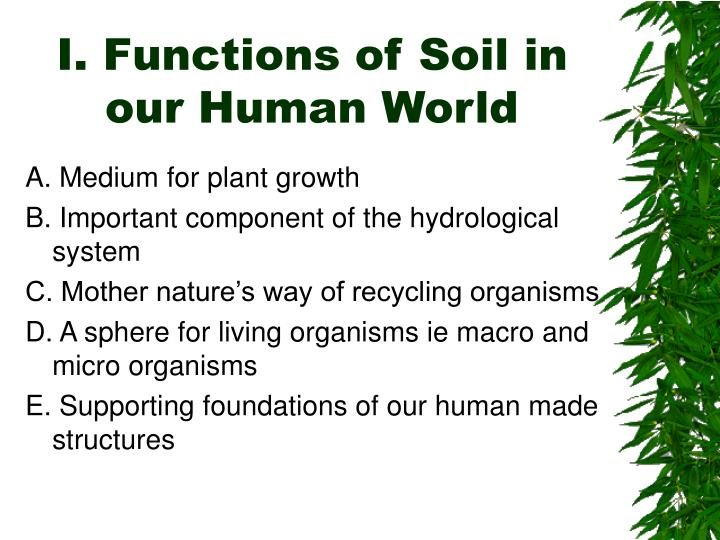 I. Functions of Soil in our Human World