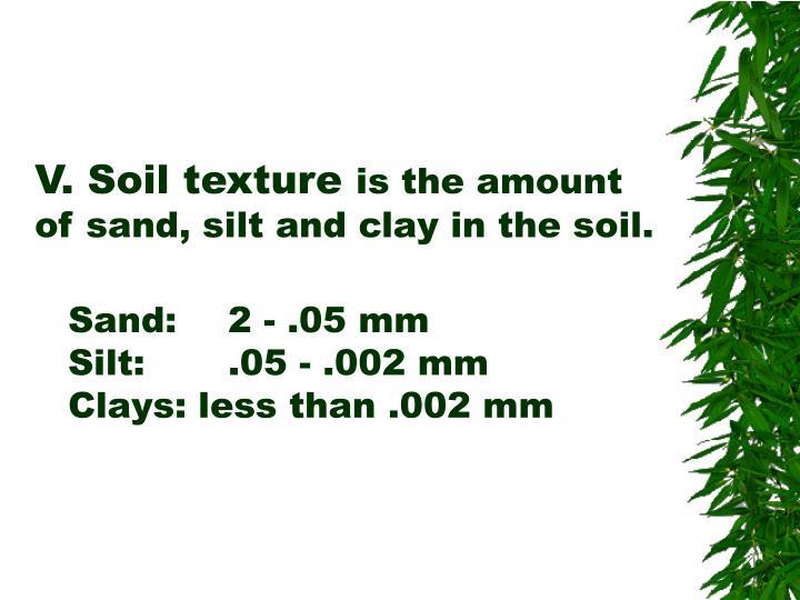 V. Soil texture