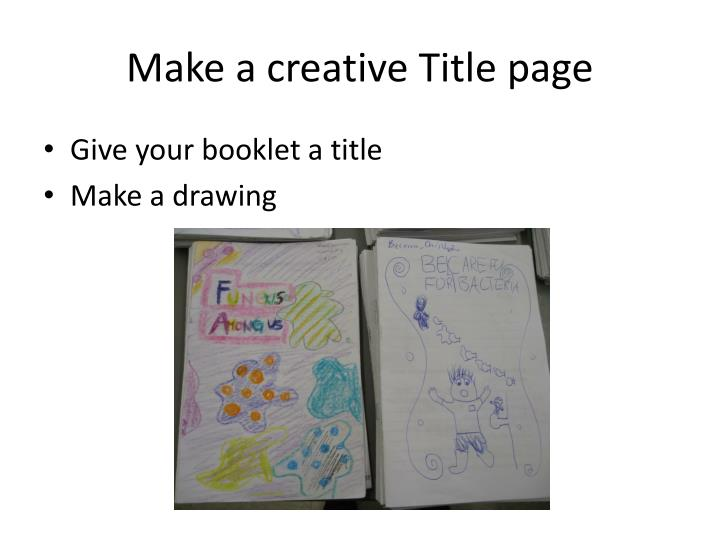 Make a creative Title page