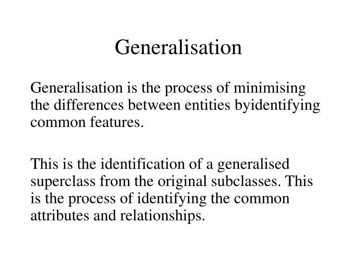 Generalisation