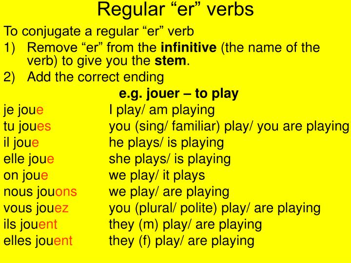 "Regular ""er"" verbs"