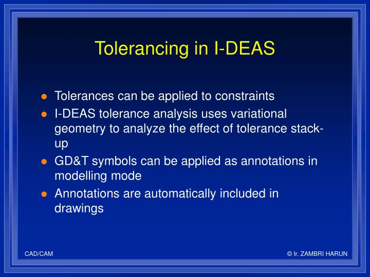 Tolerancing in I-DEAS