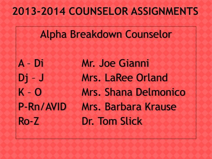 2013-2014 Counselor
