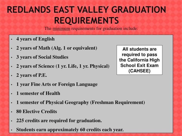 Redlands East Valley Graduation Requirements