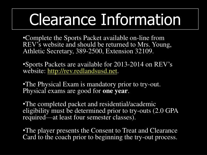 Clearance Information