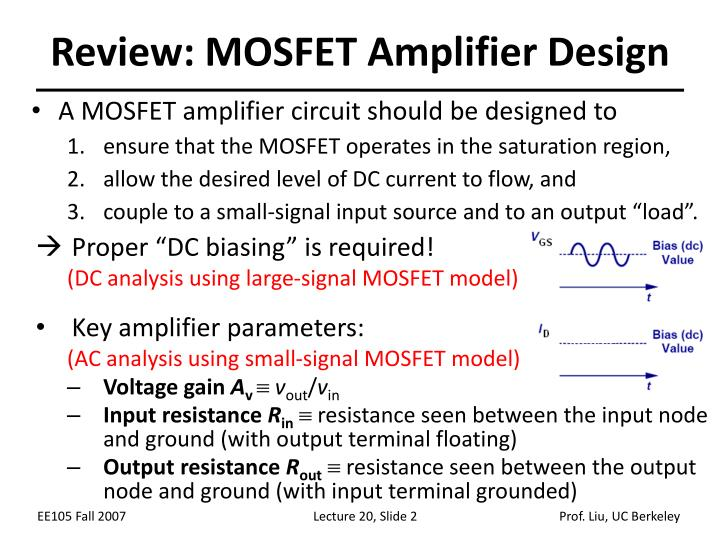 Review: MOSFET Amplifier Design