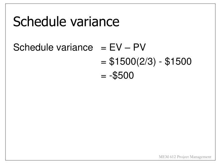Schedule variance