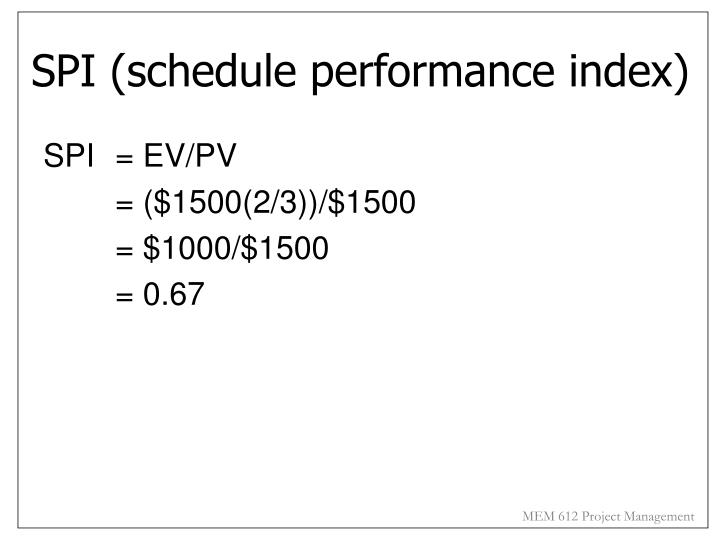 SPI (schedule performance index)