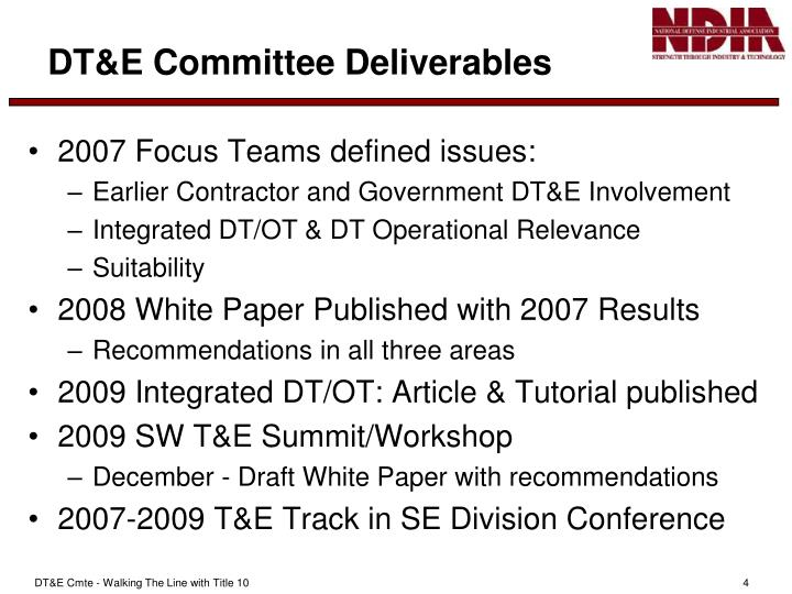 DT&E Committee Deliverables