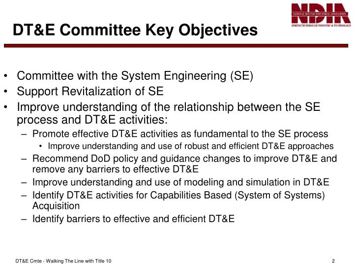 Dt e committee key objectives