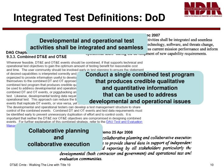 Integrated Test Definitions: DoD