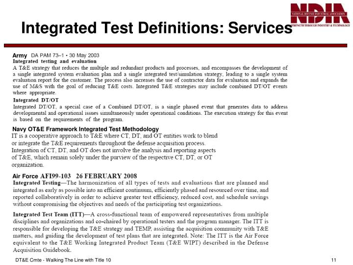 Navy OT&E Framework Integrated Test Methodology