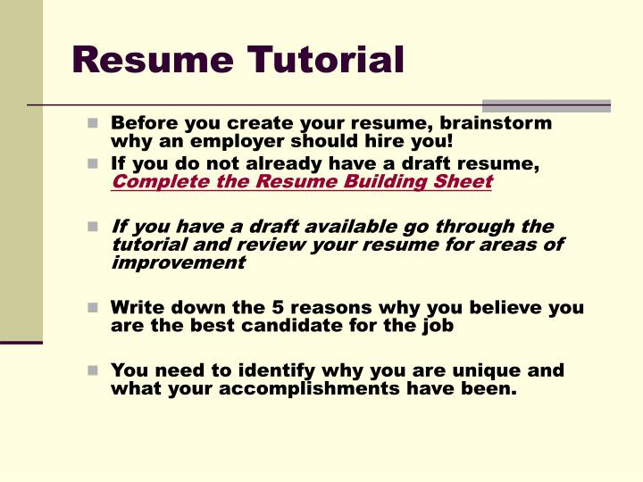 Resume tutorial