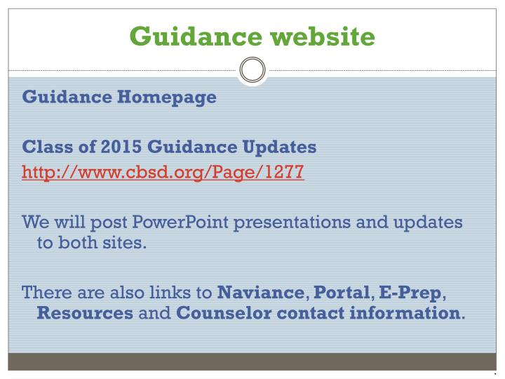 Guidance website