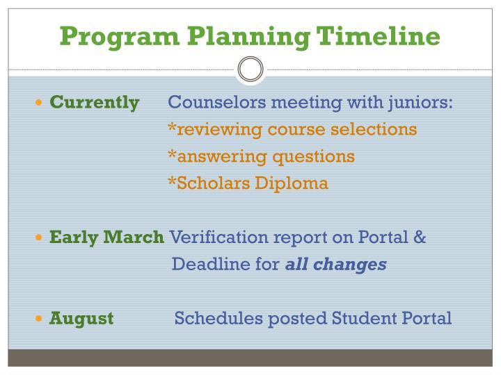 Program Planning Timeline