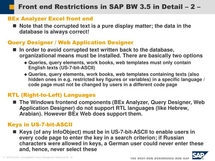 Front end Restrictions in SAP BW 3.5 in Detail – 2 –