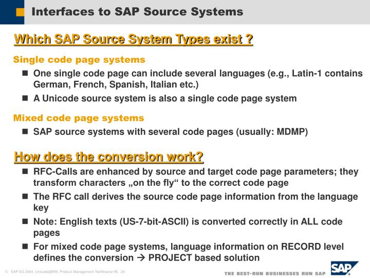 Interfaces to SAP Source Systems