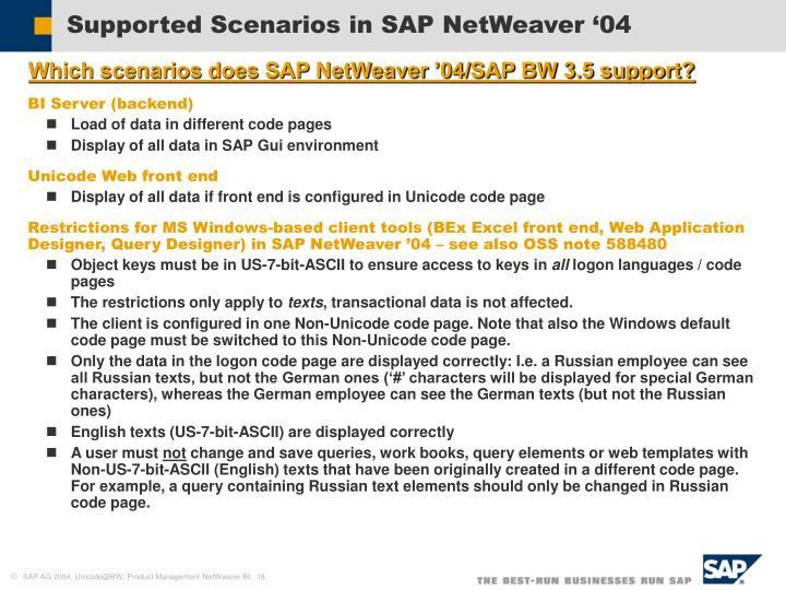 Supported Scenarios in SAP NetWeaver '04